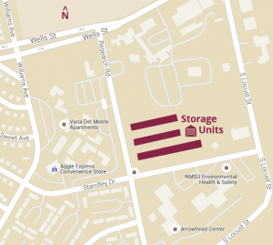 NMSU Storage Units are located within a fenced, gated area at the corner of Research & Standley on the Las Cruces campus. (Click image for larger view.)